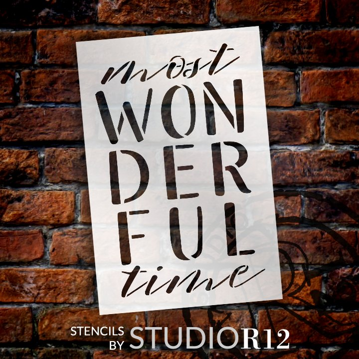 Most Wonderful Time Stencil by StudioR12   DIY Christmas Winter Holiday Home Decor   Craft & Paint Wood Sign   Reusable Mylar Template   Select Size