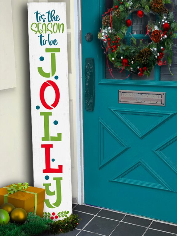 Be Jolly 3-Part Stencil by StudioR12 | DIY Christmas Season Home Decor Porch Leaner | Craft & Paint Tall Wood Sign | Reusable Mylar Template | 6 FEET