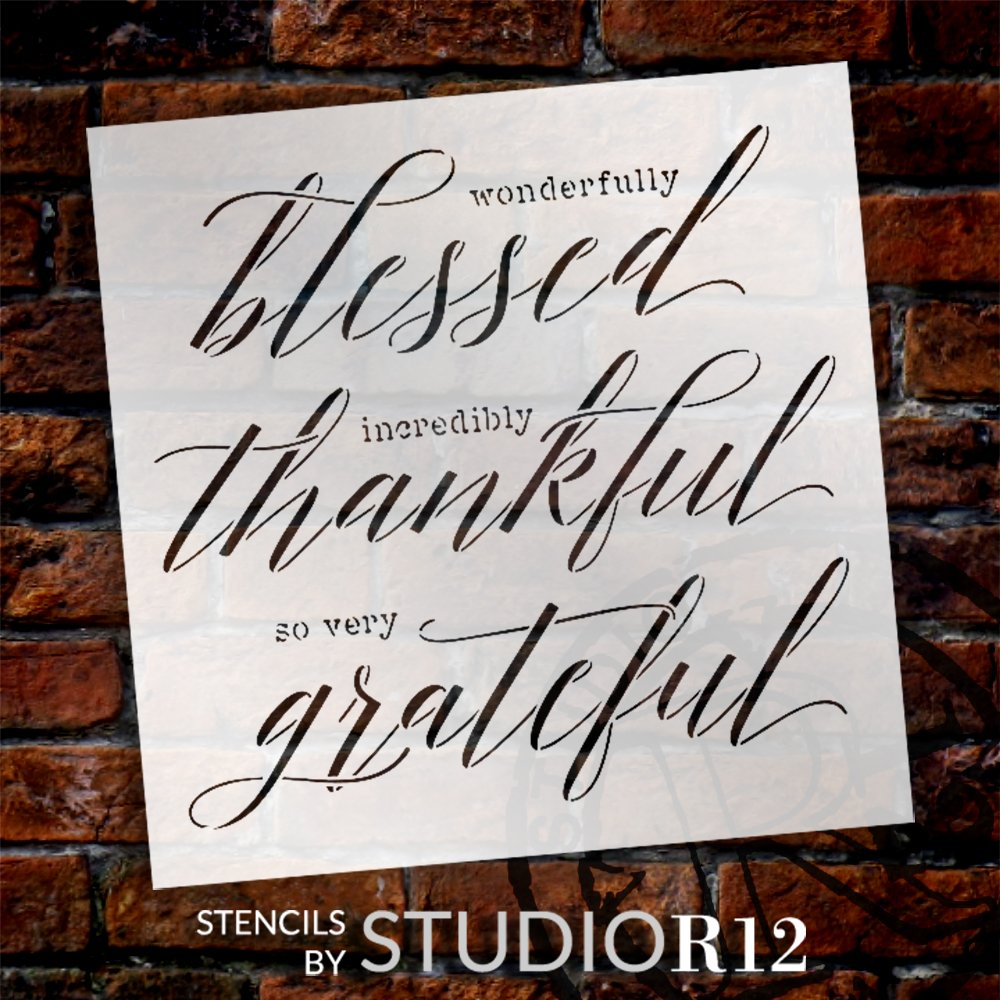 Wonderfully Blessed - Thankful Stencil by StudioR12   DIY Thanksgiving Home Decor   Craft & Paint Wood Sign   Reusable Mylar Template   Select Size