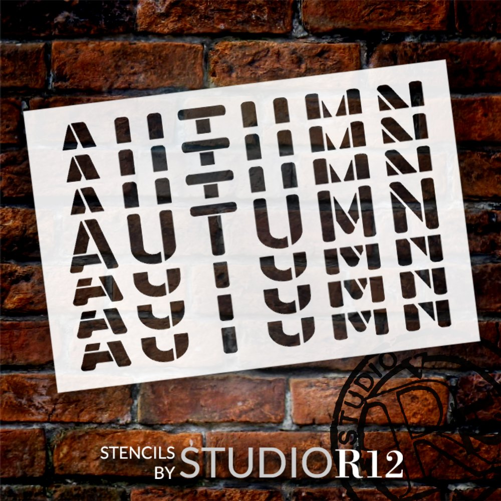 Autumn Gradient Echo Word Art Stencil by StudioR12 | DIY Seasonal Fall Home Decor | Craft & Paint Wood Sign | Reusable Mylar Template | Select Size
