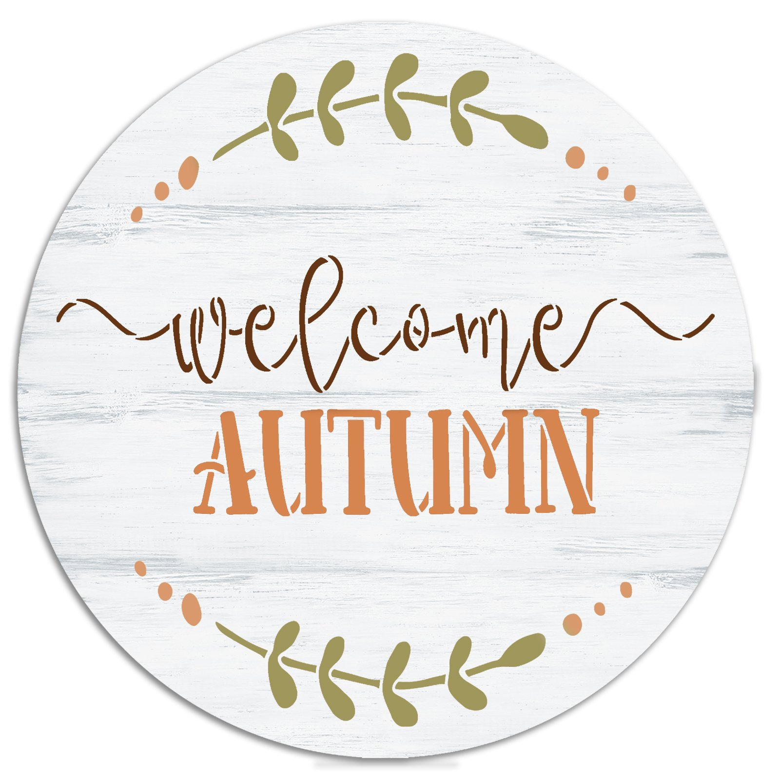Welcome Autumn Round Stencil by StudioR12 | DIY Fall Cursive Script Laurel Home Decor | Craft & Paint Wood Sign Reusable Mylar Template | Select Size