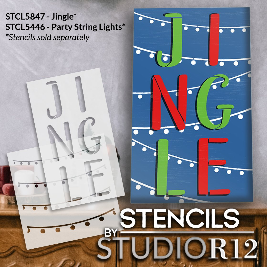 Jingle Stacked Letter Stencil by StudioR12   DIY Simple Christmas Farmhouse Decor   Craft & Paint Holiday Wood Signs   Select Size