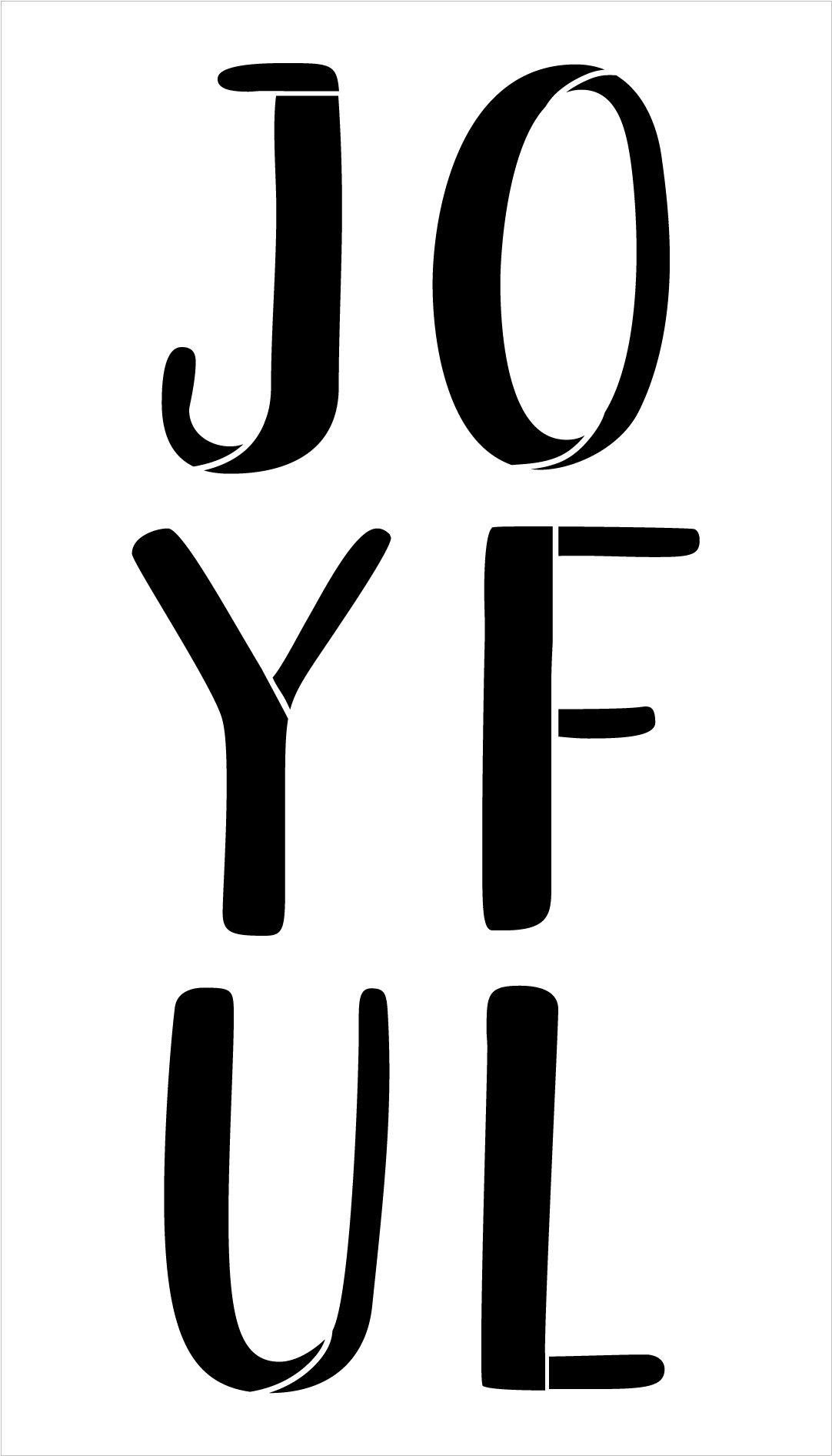 Joyful Stacked Letter Stencil by StudioR12   DIY Simple Christmas Decor   Craft & Paint Farmhouse Holiday Wood Signs   Select Size