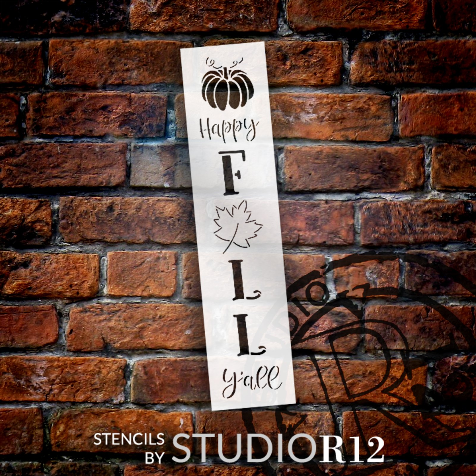 Happy Fall Y'all Stencil by StudioR12   Craft DIY Autumn Leaf Pumpkin Porch Leaner Home Decor   Paint Wood Sign Reusable Mylar Template   Select Size