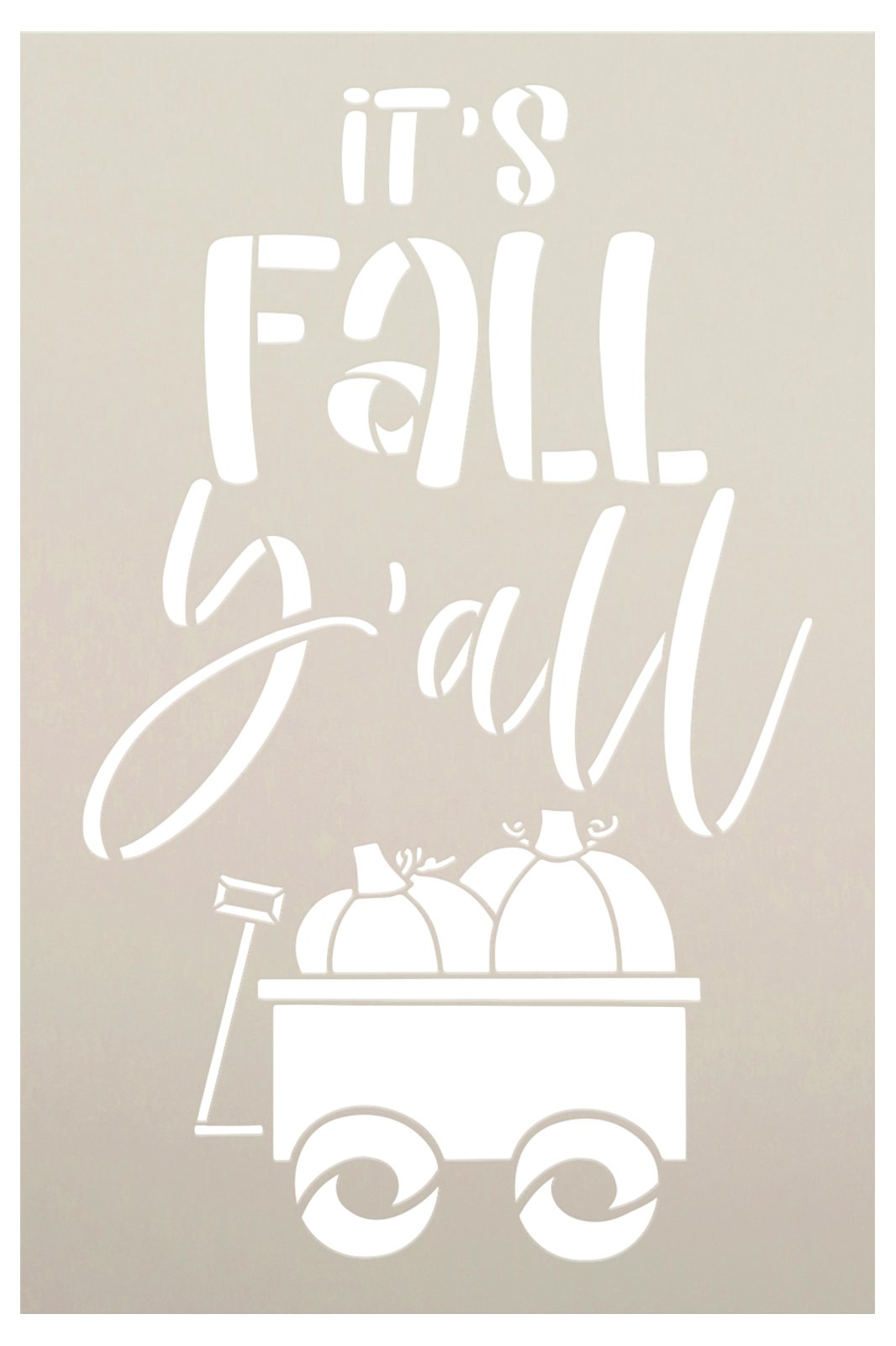 It's Fall Y'all Stencil by StudioR12   DIY Autumn Pumpkin Wagon Home Decor   Craft & Paint Wood Porch Sign   Reusable Mylar Template   Select Size