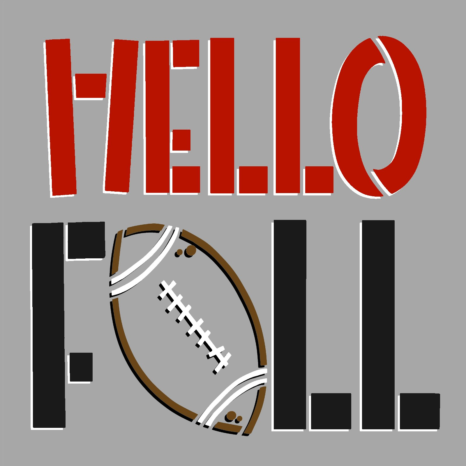 Hello Fall Football Stencil by StudioR12   DIY Autumn School Sport Team Home Decor   Craft & Paint Wood Sign   Reusable Mylar Template   Select Size