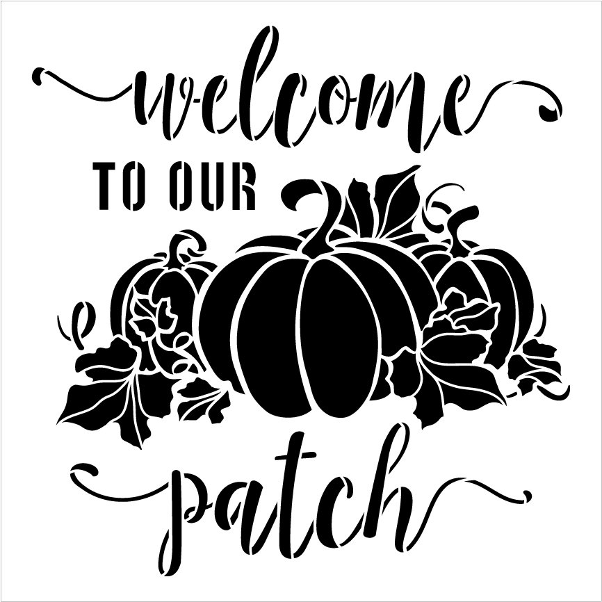 Welcome to Our Patch Stencil by StudioR12   DIY Fall Pumpkin Vine Home Decor   Craft & Paint Autumn Wood Sign   Reusable Mylar Template   Select Size