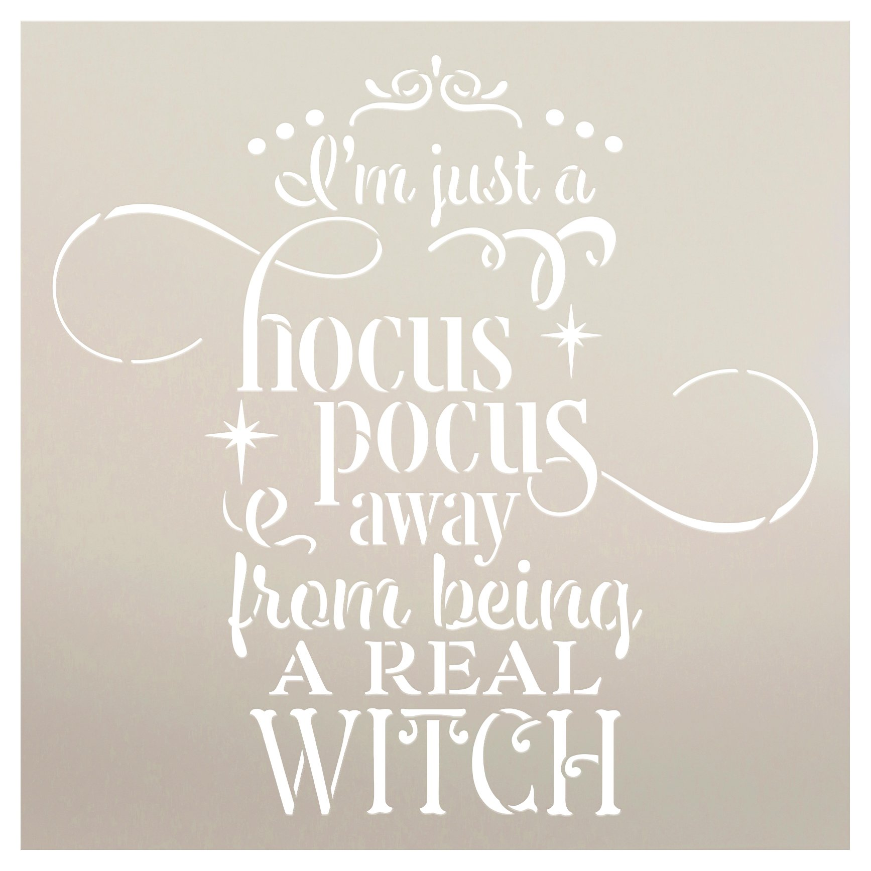 Hocus Pocus Real Witch Stencil by StudioR12   DIY October Halloween Home Decor   Craft & Paint Autumn Wood Sign Reusable Mylar Template   Select Size