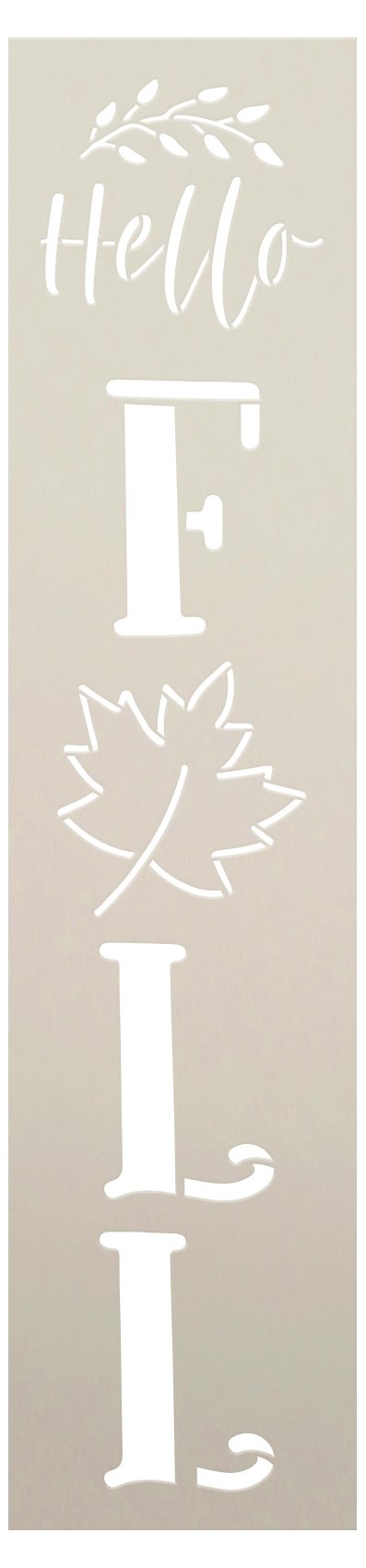 Hello Fall Stencil by StudioR12   DIY Autumn Leaf Porch Leaner Home Decor   Craft & Paint Vertical Wood Sign   Reusable Mylar Template   Select Size