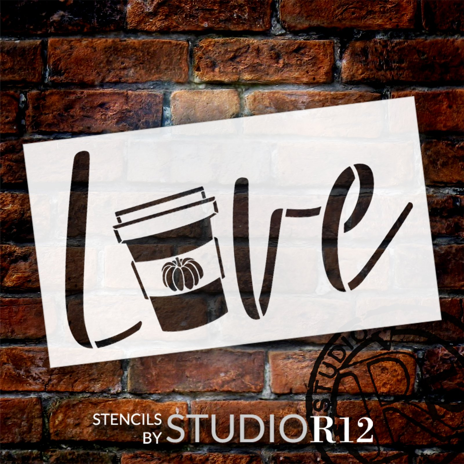 Love Pumpkin Spice Latte Stencil by StudioR12 | DIY Fall Coffee Cup Home Decor | Craft & Paint Autumn Wood Sign Reusable Mylar Template | Select Size