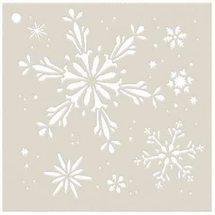 Snowflakes Stencil by StudioR12 | Fanciful Winter Snow Art - Reusable Mylar Template | Painting, Chalk, Mixed Media | Use for Journaling, DIY Home Decor - STCL165