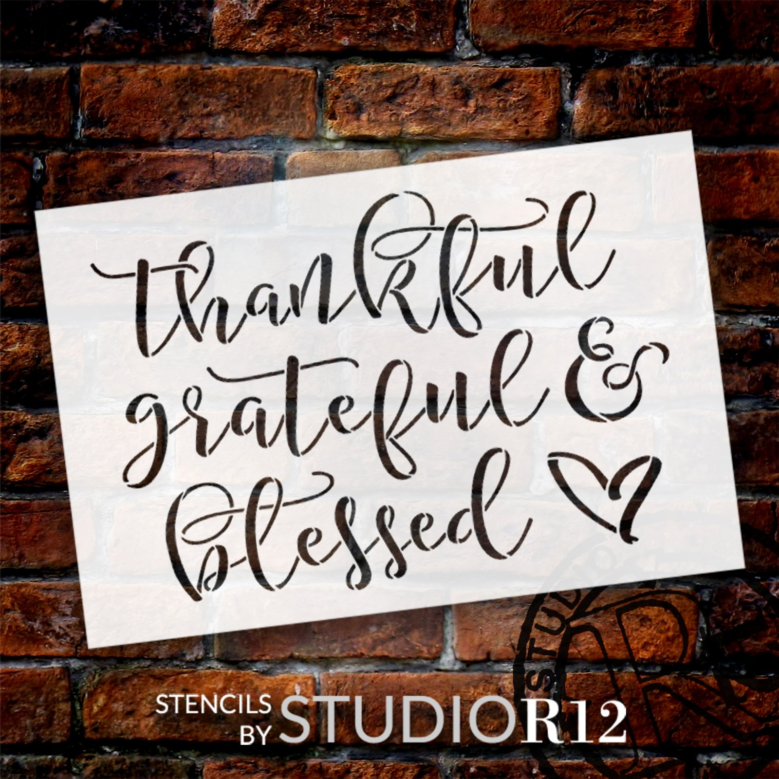 Thankful Grateful & Blessed Stencil by StudioR12   Craft DIY Fall Home Decor   Paint Cursive Script Wood Sign   Reusable Mylar Template   Select Size