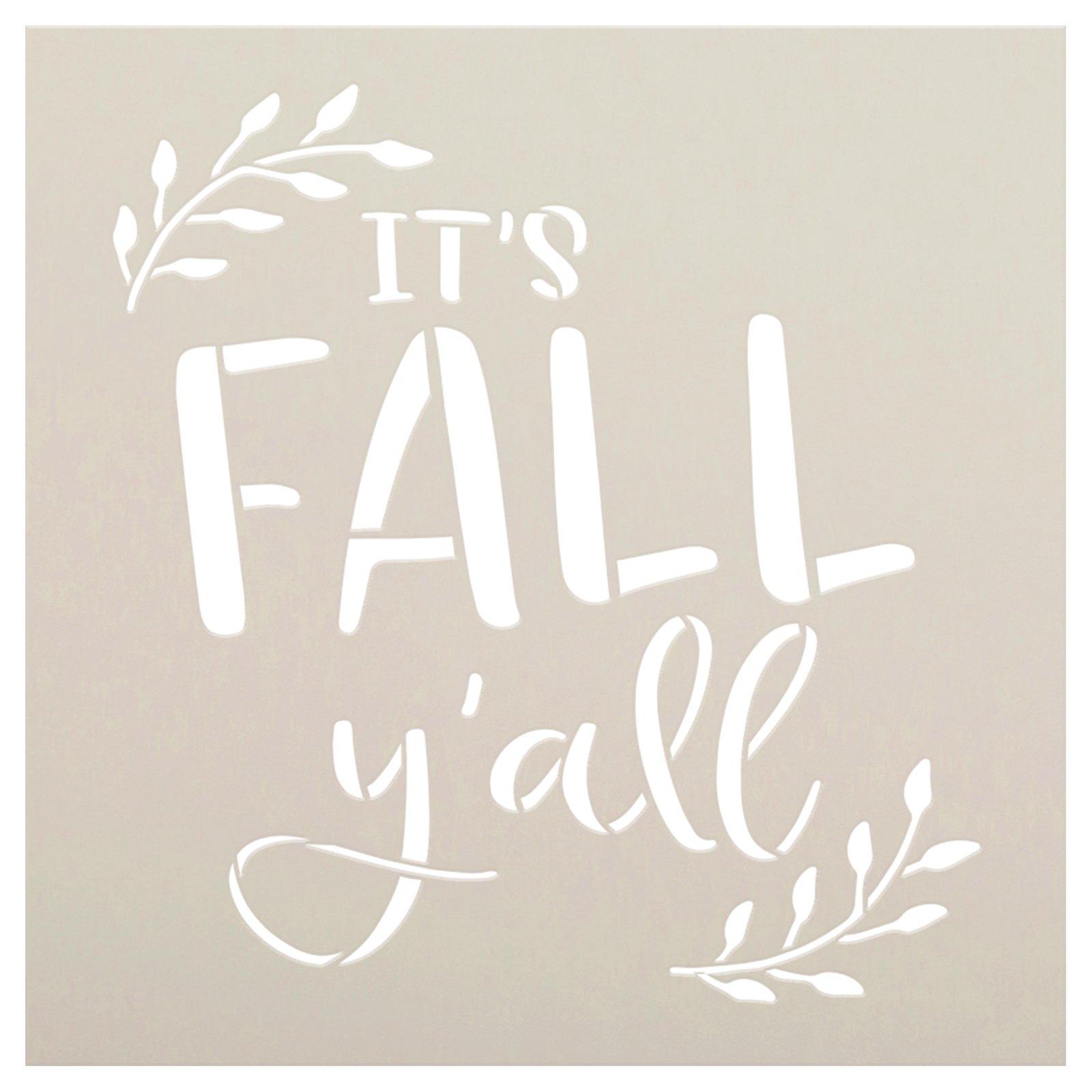 It's Fall Y'all Stencil by StudioR12 | DIY Laurel Home Decor | Craft & Paint Autumn Cursive Script Wood Sign | Reusable Mylar Template | Select Size