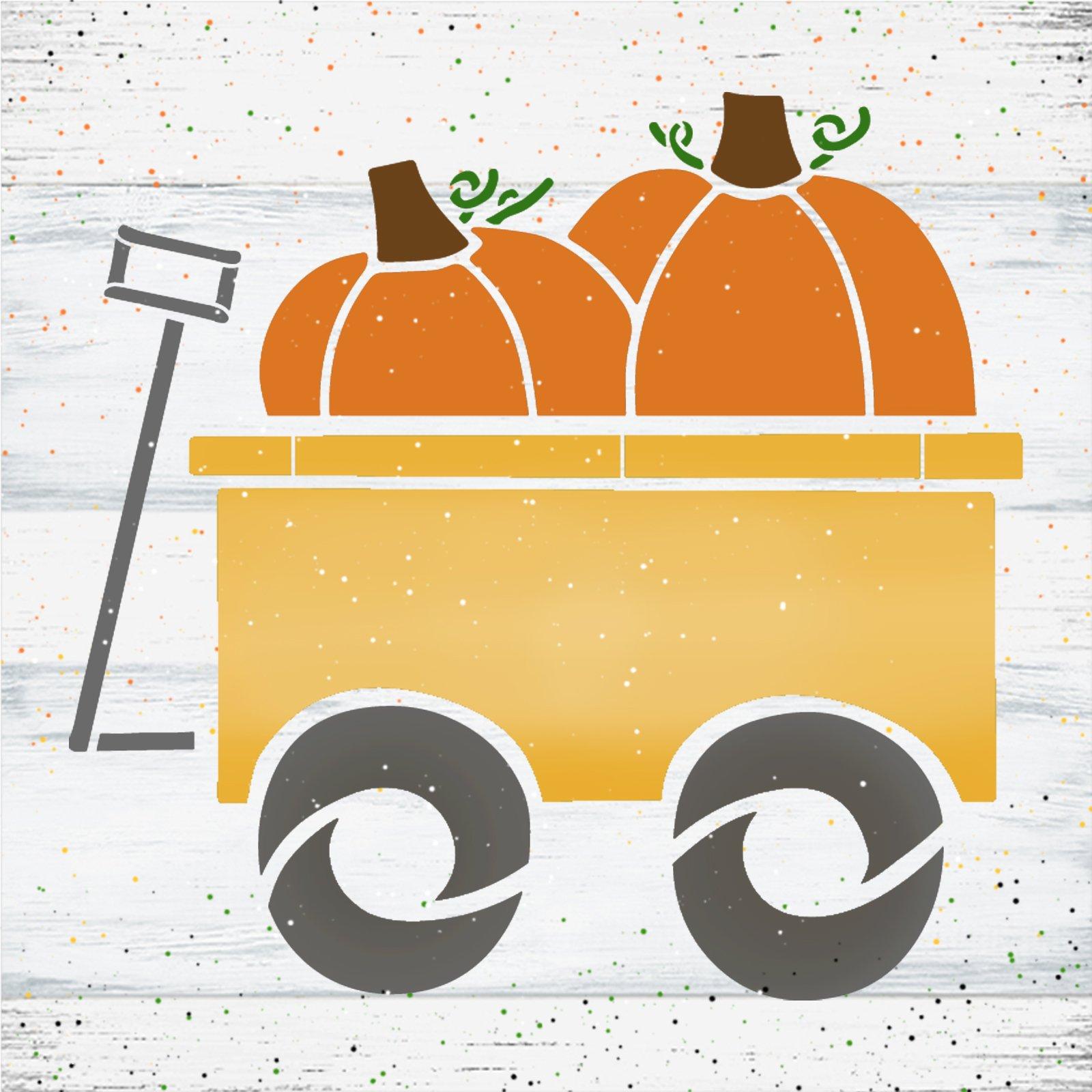 Pumpkin Wagon Stencil by StudioR12   DIY Autumn Garden Cart Home Decor   Craft & Paint Fall Farmhouse Wood Sign Reusable Mylar Template   Select Size