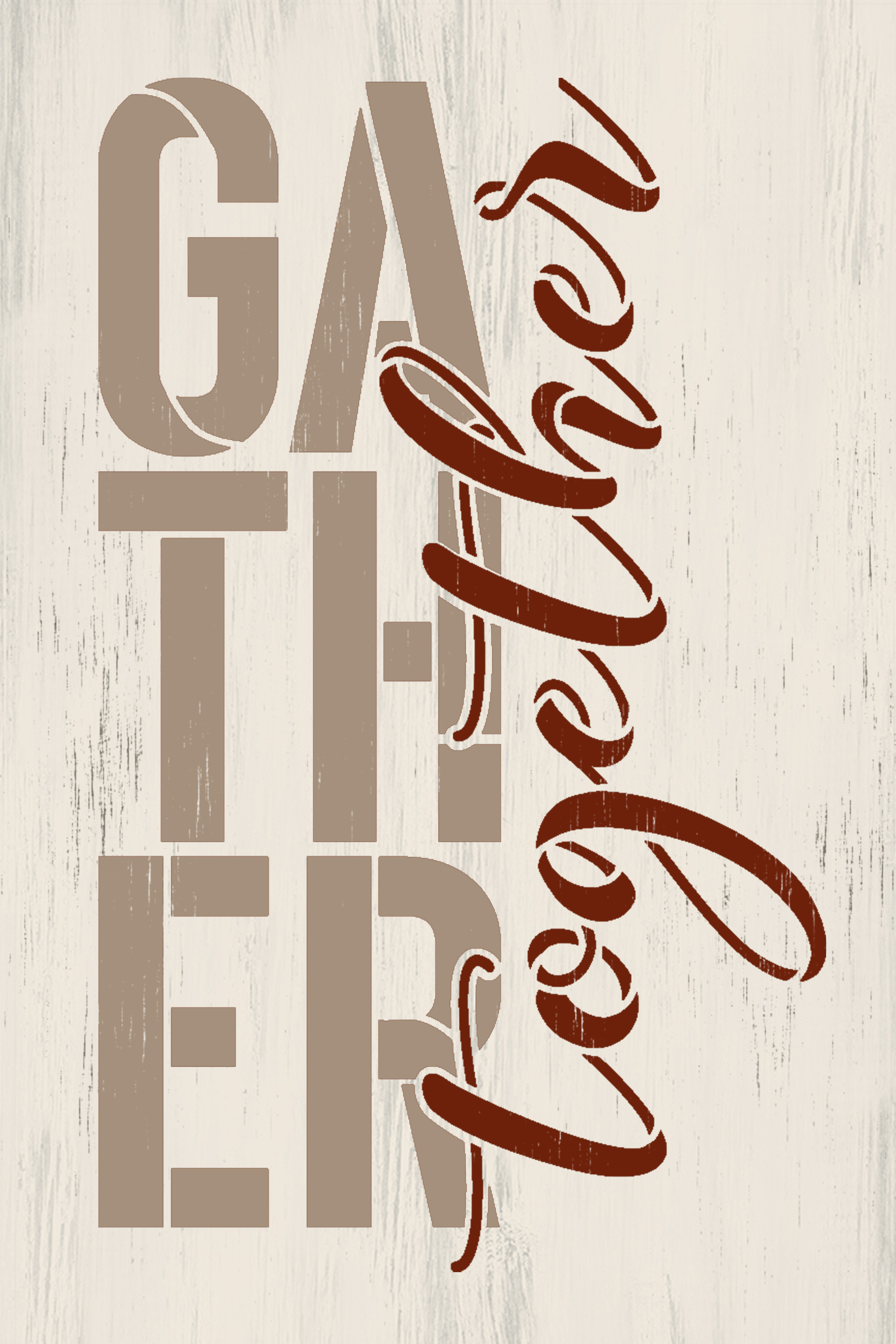 Gather Together Stencil by StudioR12   Craft DIY Thanksgiving Fall Farmhouse Home Decor   Paint Autumn Wood Sign Reusable Mylar Template   Select Size