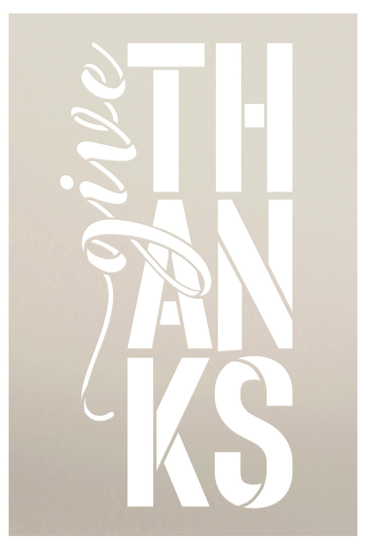 Give Thanks Letter Stack Stencil by StudioR12   Craft DIY Fall Autumn Thanksgiving Home Decor   Paint Wood Sign Reusable Mylar Template   Select Size