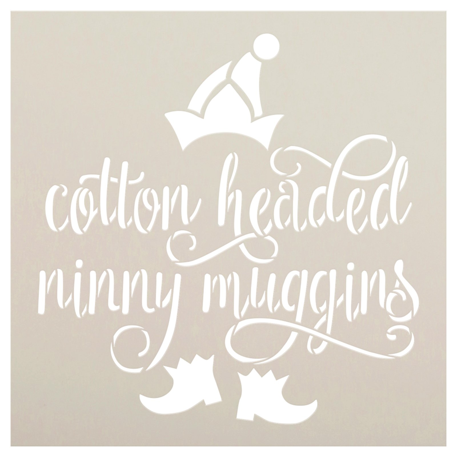 Cotton Headed Ninny Muggins Stencil by StudioR12 | DIY Christmas Movie Home Decor | Craft & Paint Elf Wood Sign Reusable Mylar Template | Select Size