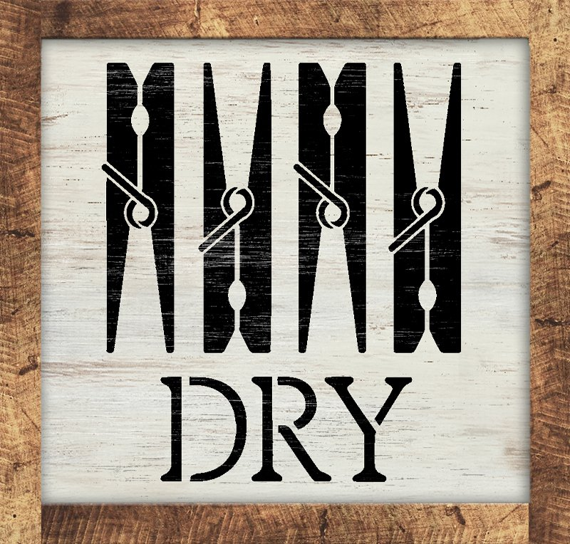 Dry Laundry Room Stencil by StudioR12 | DIY Clothes Pin Home Decor | Craft & Paint Washer Dryer Wood Sign | Reusable Mylar Template | Select Size