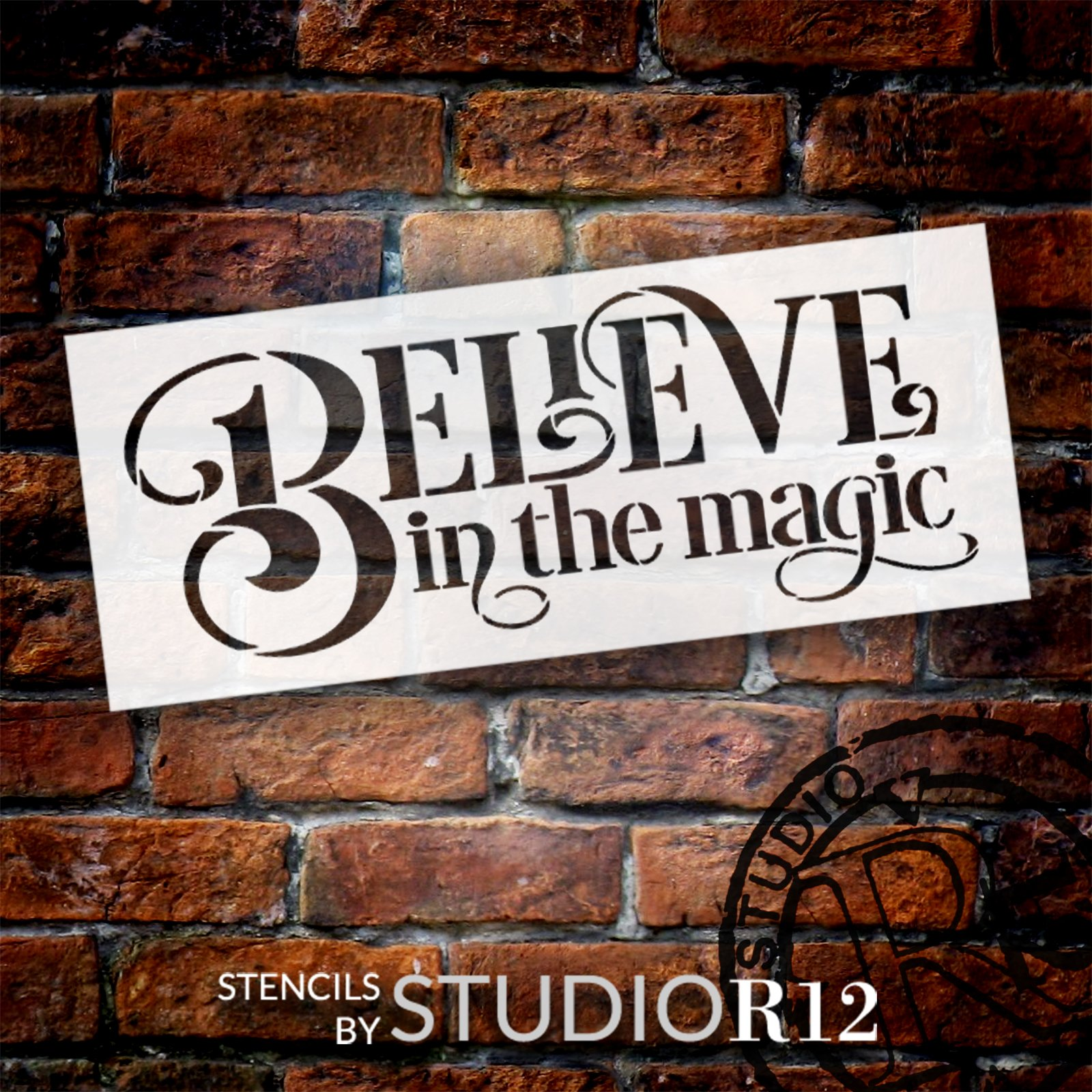 Believe in The Magic Stencil by StudioR12   Craft DIY Christmas Holiday Home Decor   Paint Winter Wood Sign   Reusable Mylar Template   Select Size