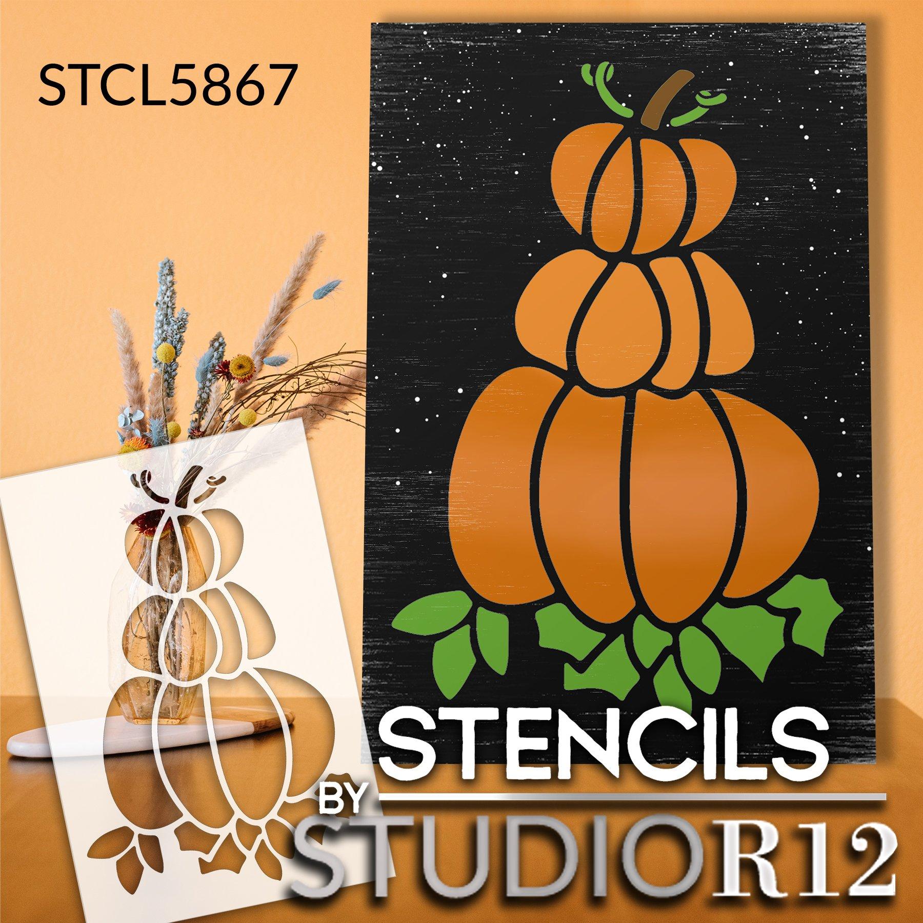 Pumpkin Stack Stencil by StudioR12 | Craft DIY Autumn Garden Porch Home Decor | Paint Fall Farmhouse Wood Sign | Reusable Mylar Template | Select Size
