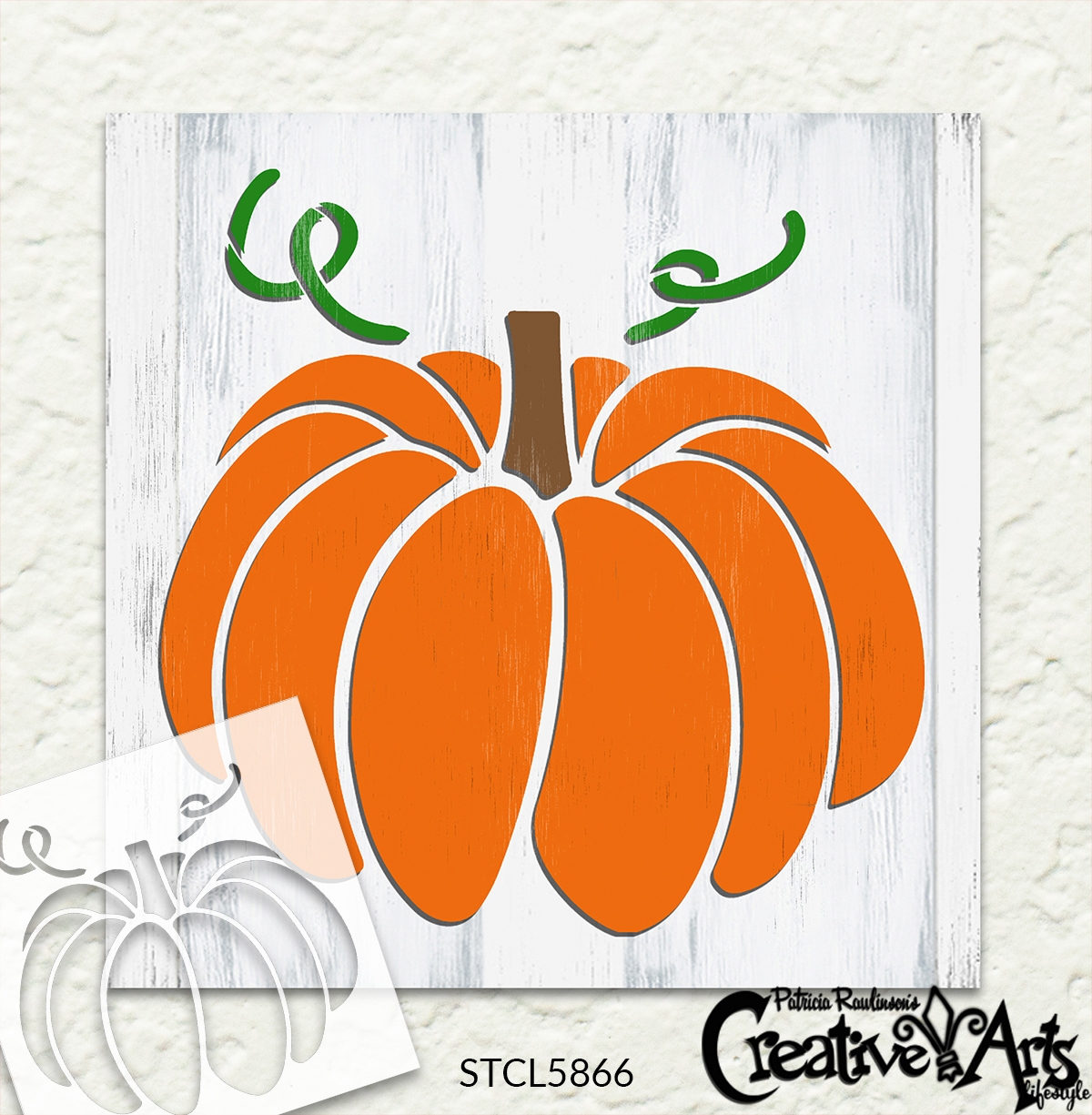 Pumpkin with Curling Vines Stencil by StudioR12 | Craft DIY Fall Home Decor | Paint Autumn Farmhouse Wood Sign Reusable Mylar Template | Select Size