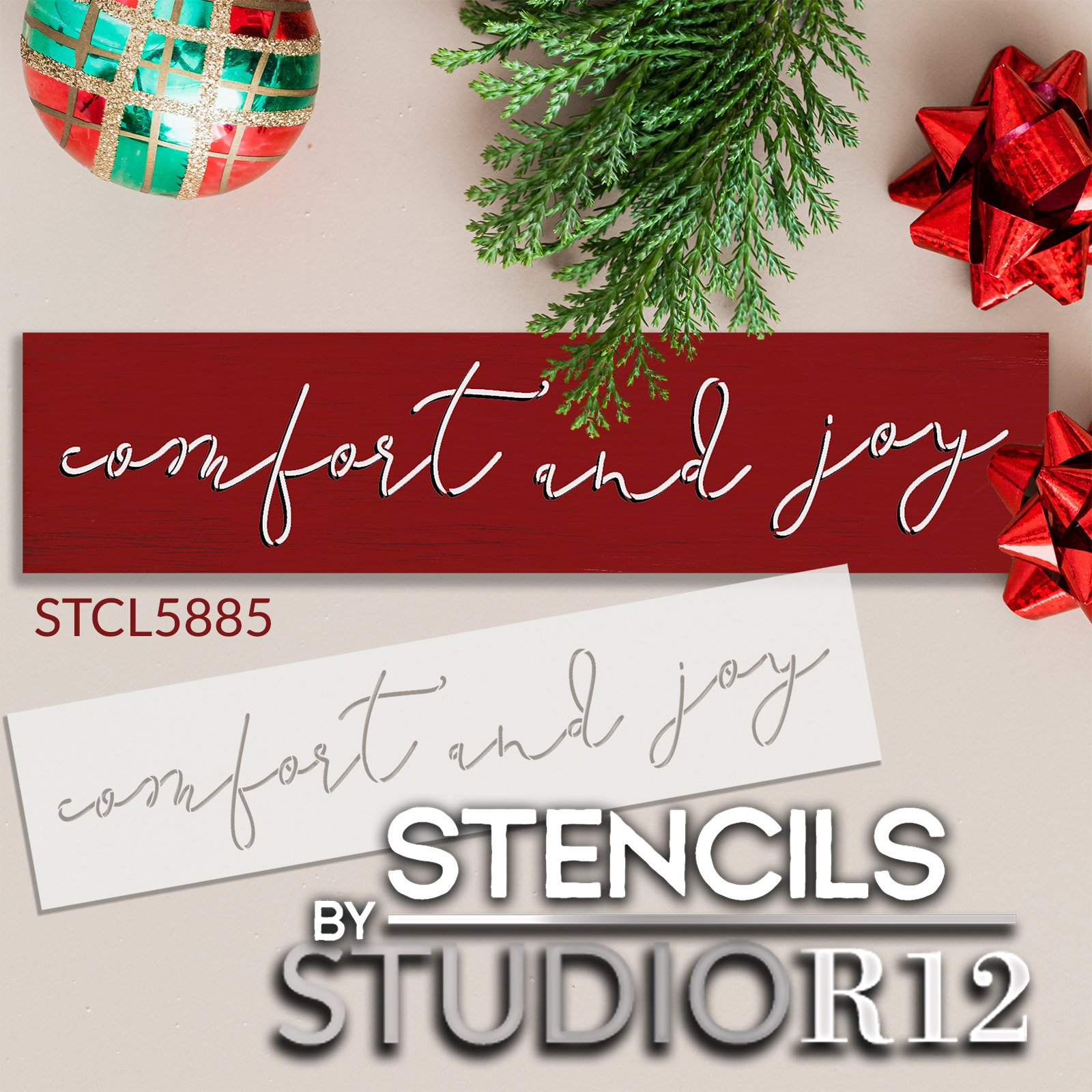 Comfort and Joy Stencil by StudioR12   Craft DIY Christmas Holiday Home Decor   Paint Cursive Script Wood Sign   Reusable Mylar Template   Select Size