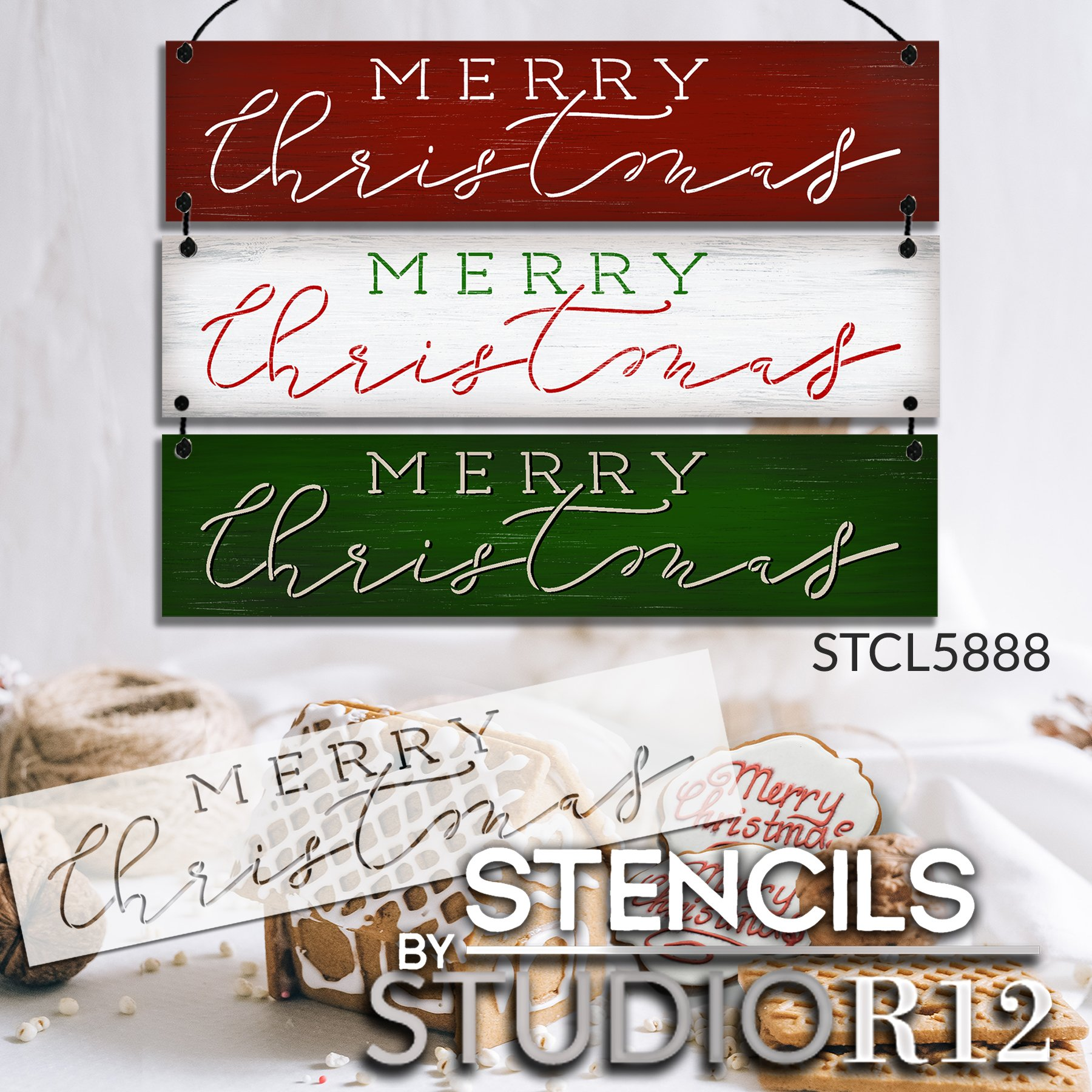 Merry Christmas Stencil by StudioR12 | Craft DIY Holiday Farmhouse Home Decor | Paint Cursive Script Wood Sign | Reusable Mylar Template | Select Size