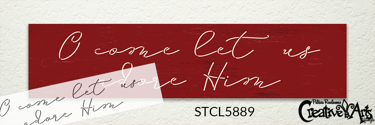 O Come Let Us Adore Him Stencil by StudioR12 | DIY Christmas Holiday Script Home Decor | Craft & Paint Wood Sign Reusable Mylar Template | Select Size