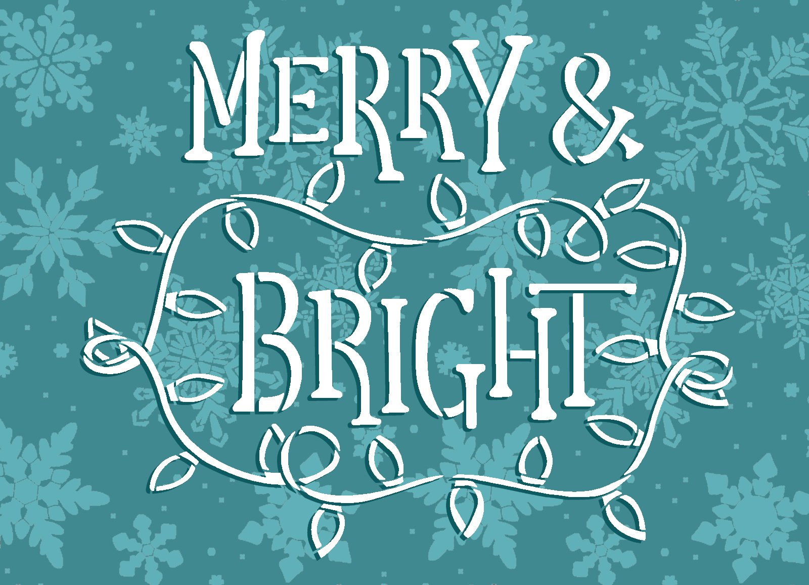 Merry & Bright Stencil by StudioR12   Craft DIY Christmas Light Home Decor   Paint Winter Holiday Wood Sign   Reusable Mylar Template   Select Size
