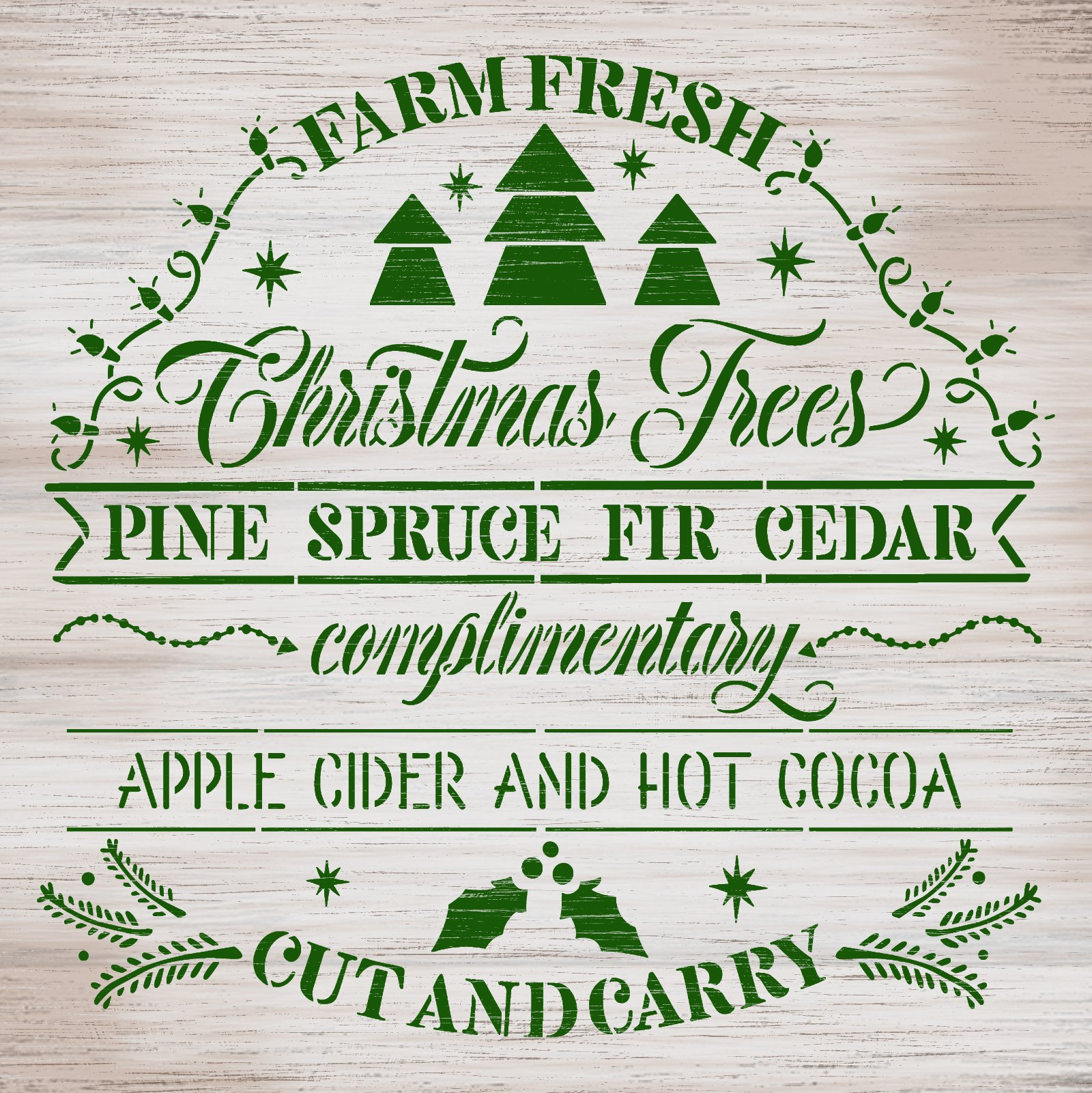 Farm Fresh Christmas Trees Stencil by StudioR12 | DIY Holiday Home Decor | Craft & Paint Winter Wood Sign | Reusable Mylar Template | Select Size