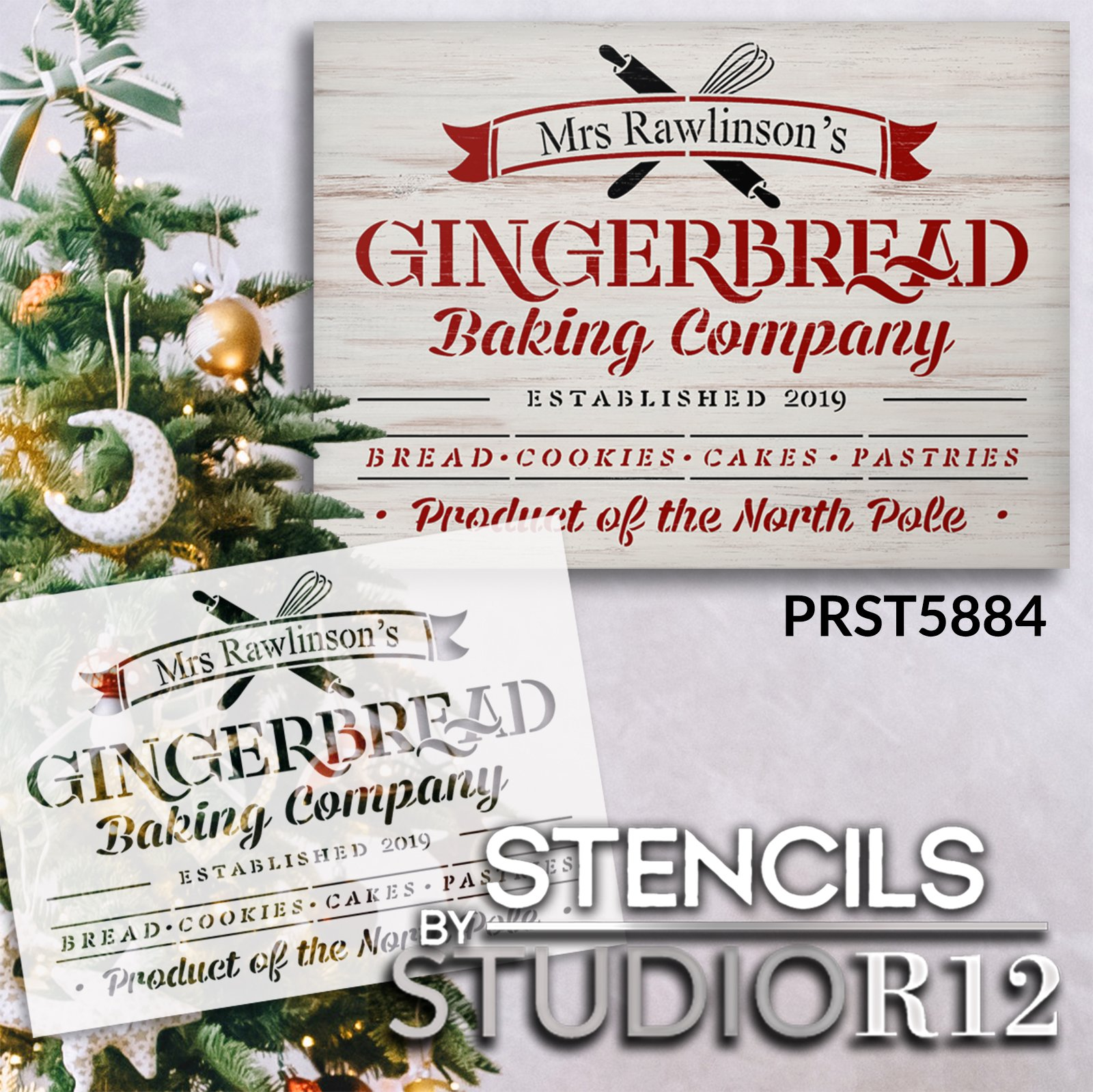 Personalized Baking Company Stencil by StudioR12 | DIY Christmas Kitchen Decor | Craft North Pole Holiday Wood Signs | Size (18 x 13 inch)