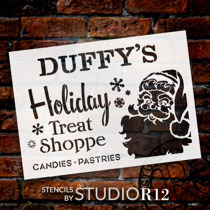 Personalized Holiday Treat Shoppe Stencil by StudioR12   DIY Custom Christmas Kitchen Decor   Paint Wood Signs   Select Size