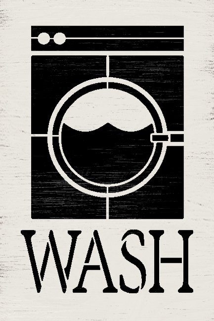 Wash Laundry Room Stencil by StudioR12 | DIY Cleaning Chore Home Decor | Craft & Paint Washer Dryer Wood Sign | Reusable Mylar Template | Select Size