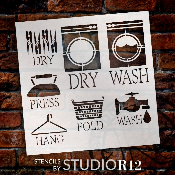 Laundry Room Symbols Stencil by StudioR12   DIY Washer Dryer Cleaning Home Decor   Craft & Paint Wood Sign   Reusable Mylar Template   Select Size