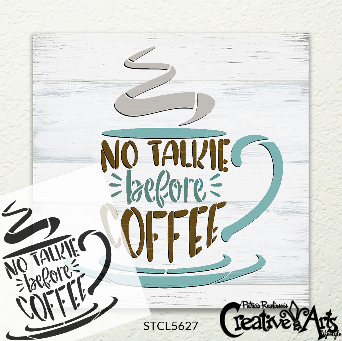 NoTalkie Before Coffee Stencil by StudioR12 | DIY Morning Kitchen Cafe Home Decor | Craft & Paint Wood Sign | Reusable Mylar Template | Select Size