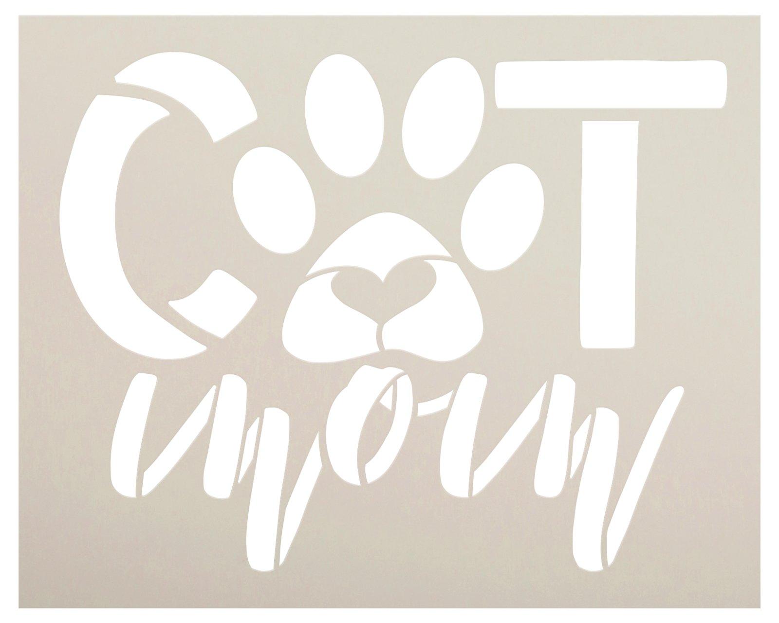 Cat Mom Pawprint Stencil by StudioR12   DIY Pet Lover Home Decor   Craft & Paint Cursive Script Wood Sign   Reusable Mylar Template   Select Size