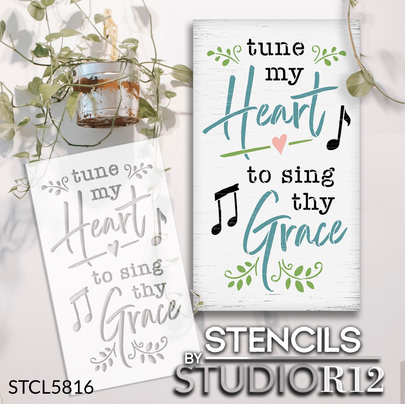Tune My Heart to Sing Thy Grace Stencil by StudioR12 | DIY Gospel Hymn Home Decor | Craft & Paint Wood Sign | Reusable Mylar Template | Select Size