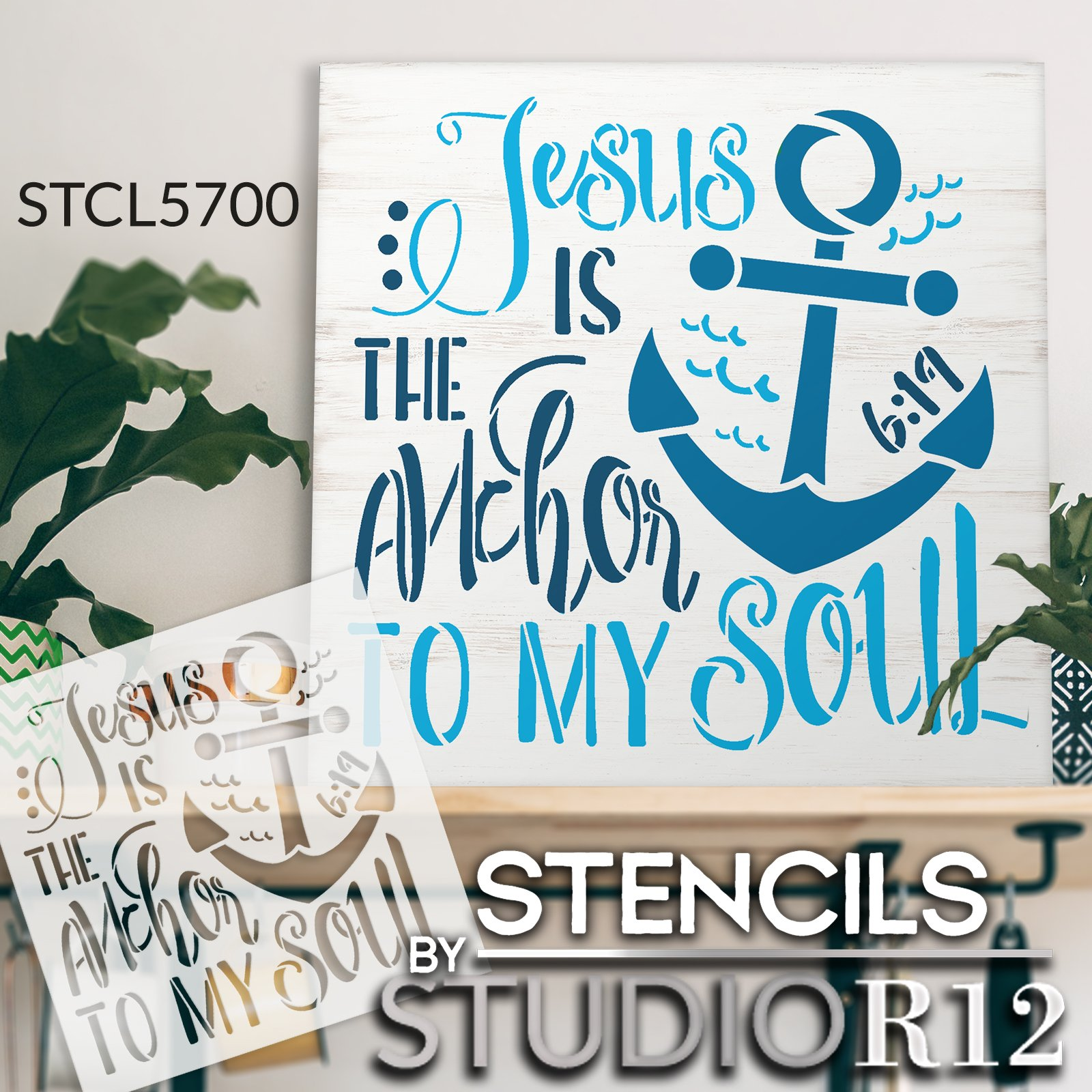 Jesus is The Anchor to My Soul Stencil by StudioR12 | DIY Inspirational Home Decor | Craft & Paint Wood Sign | Reusable Mylar Template | Select Size