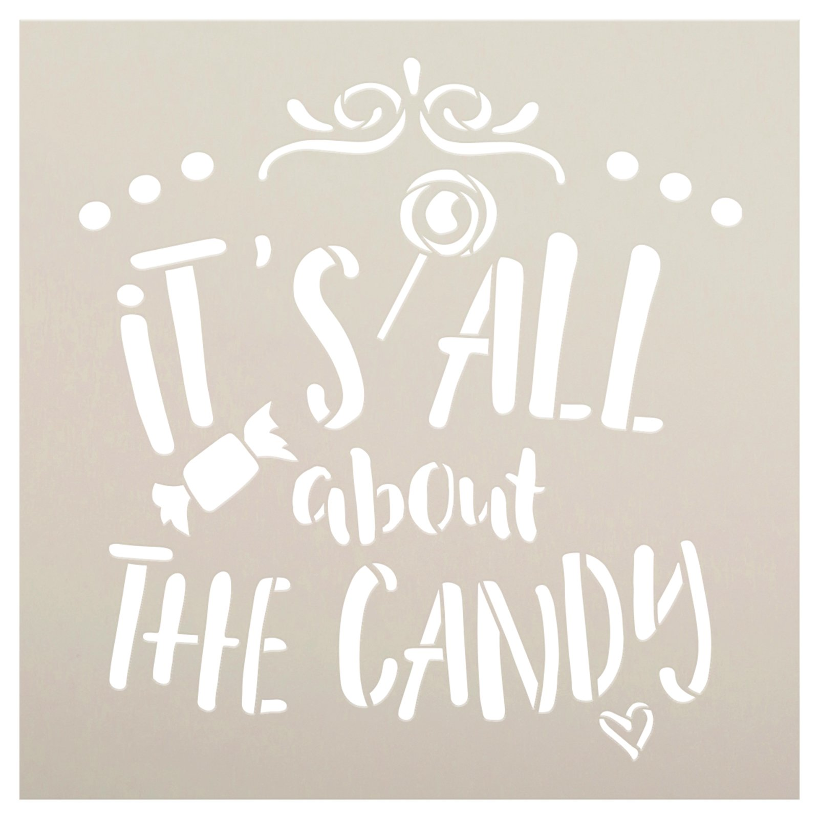 It's All About The Candy Stencil by StudioR12 | DIY Trick-or-Treat Home Decor | Craft & Paint Fall Wood Sign | Reusable Mylar Template | Select Size