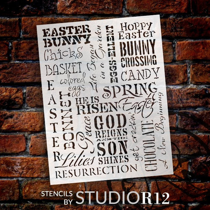 Easter Background Word Art Stencil by StudioR12 | DIY Spring Home Decor | Select Size