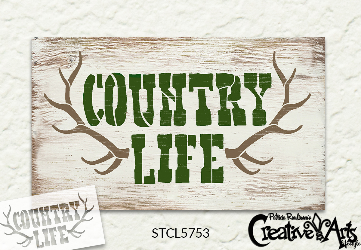 Country Life with Antlers Stencil by StudioR12 | Craft DIY Deer Hunting Home Decor | Paint Buck Rack Wood Sign | Reusable Mylar Template | Select Size