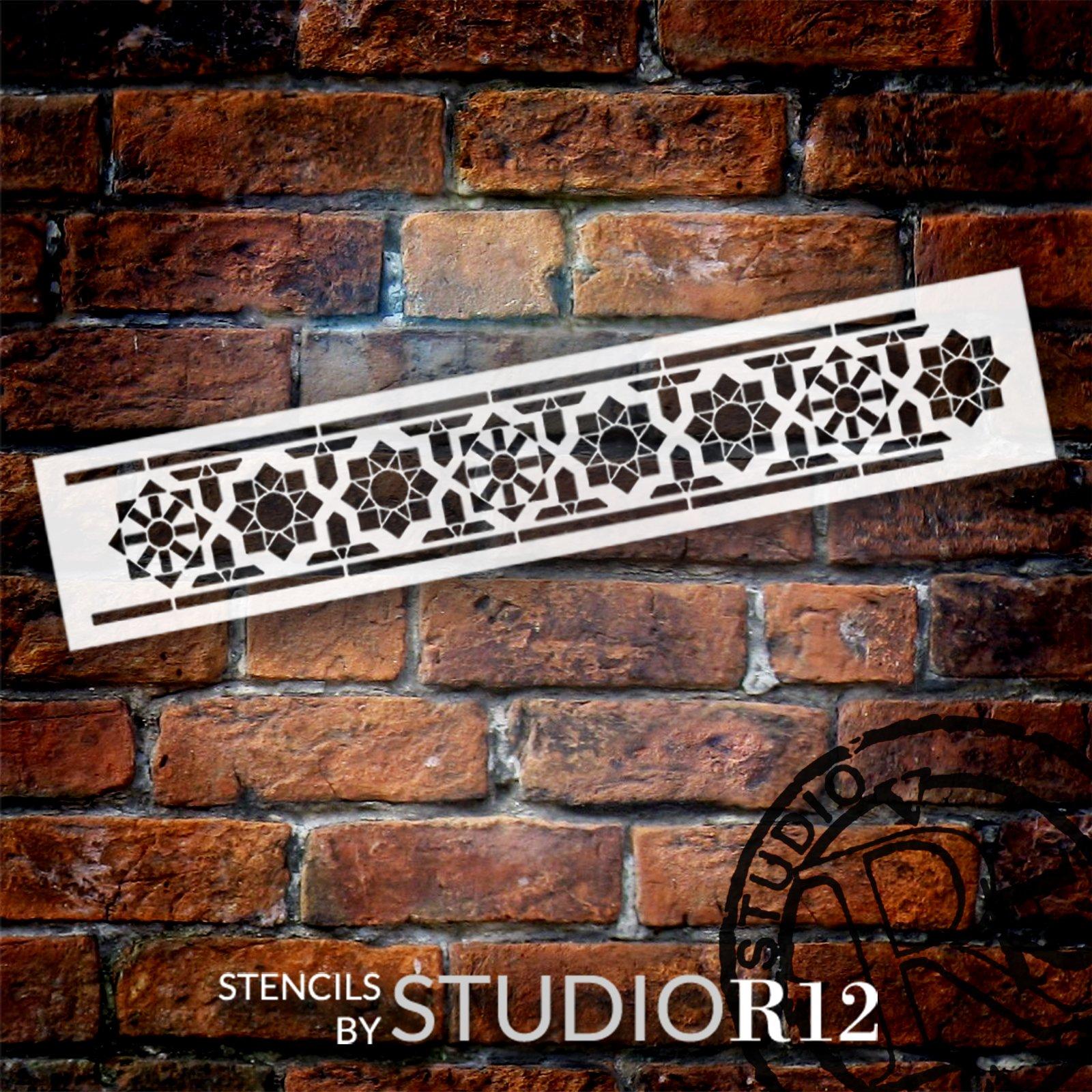 Arabian Mosaic Star Band Stencil by StudioR12   DIY Flower Sun Pattern Backsplash Home Decor   Craft & Paint Wood Sign Border   Select Size