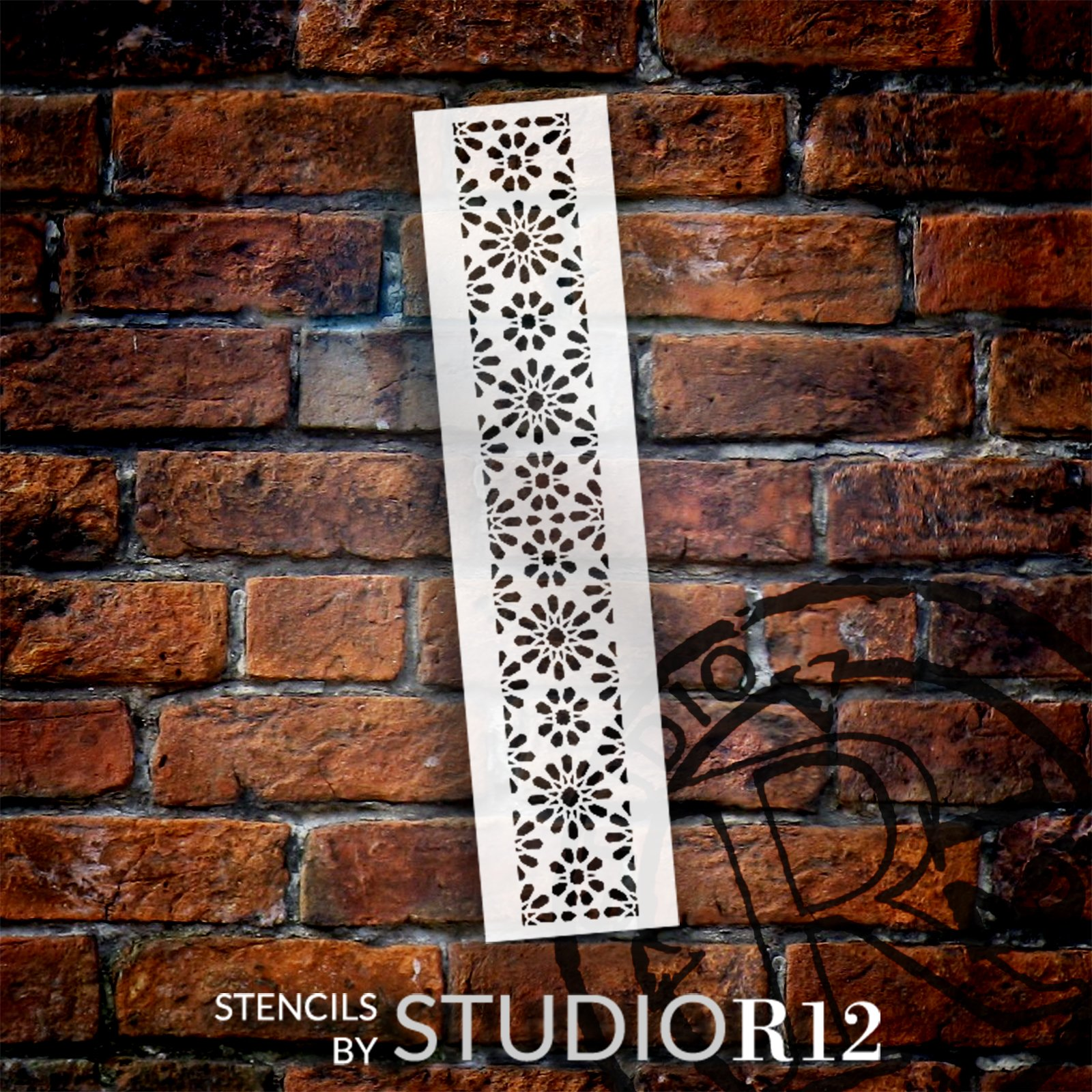 Moresque Mosaic Starburst Band Stencil by StudioR12 | DIY Flower Pattern Backsplash Home Decor | Craft & Paint Wood Sign Border | Select Size