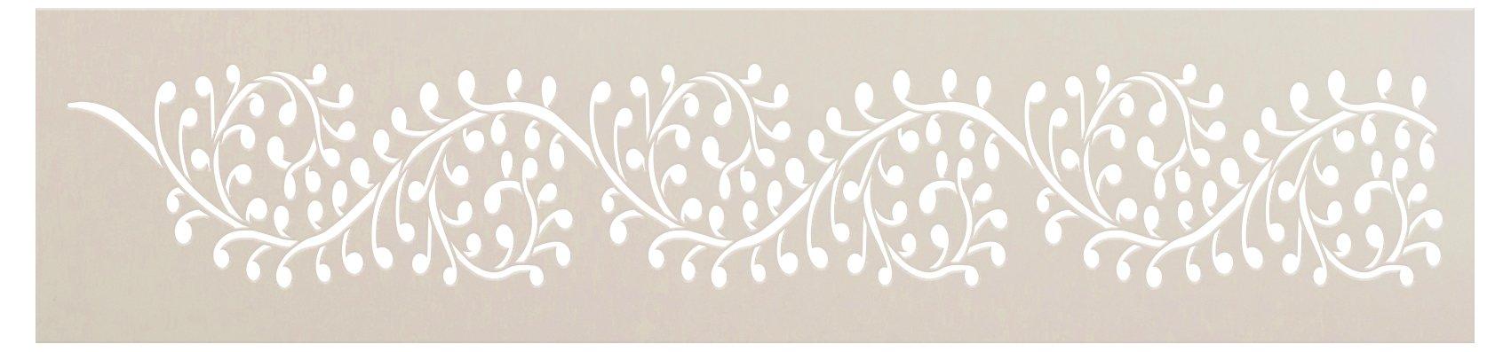 Indian Trailing Vine Band Stencil by StudioR12 | DIY Hindu Pattern Backsplash Home Decor | Craft & Paint Spiraling Wood Sign Border | Select Size