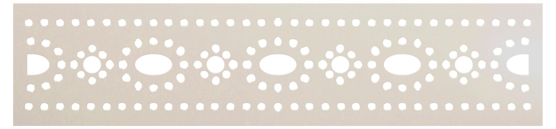 Hindu Dot Flower & Oval Banding Stencil by StudioR12 | Craft DIY Backsplash Indian Pattern Home Decor | Paint Wood Sign Border | Select Size