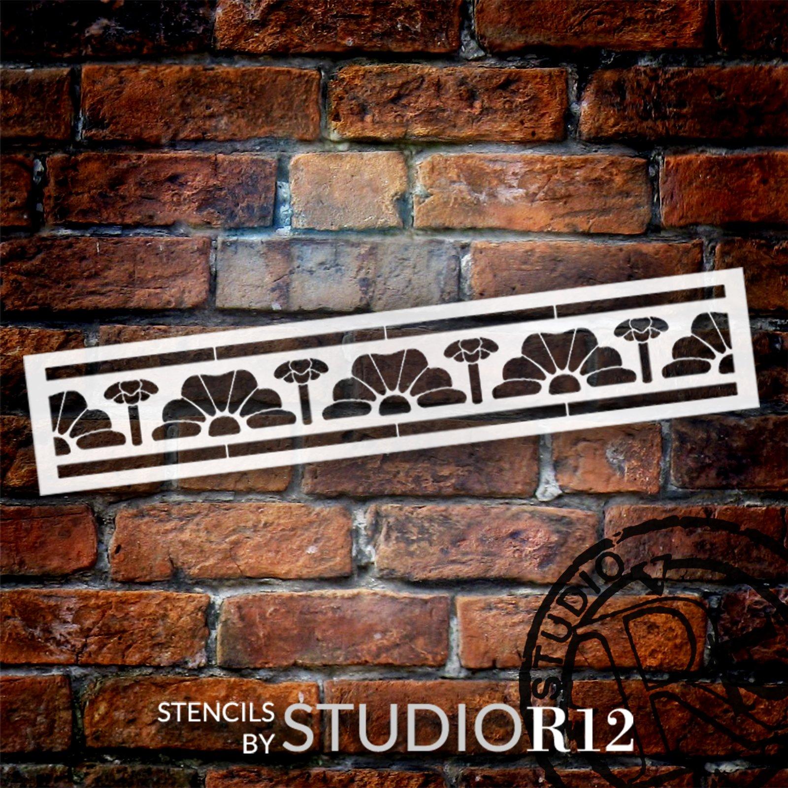 Medieval Flower Bud Band Stencil by StudioR12 | DIY Backsplash Pattern Home Decor | Craft & Paint Wood Sign | Reusable Mylar Template | Select Size