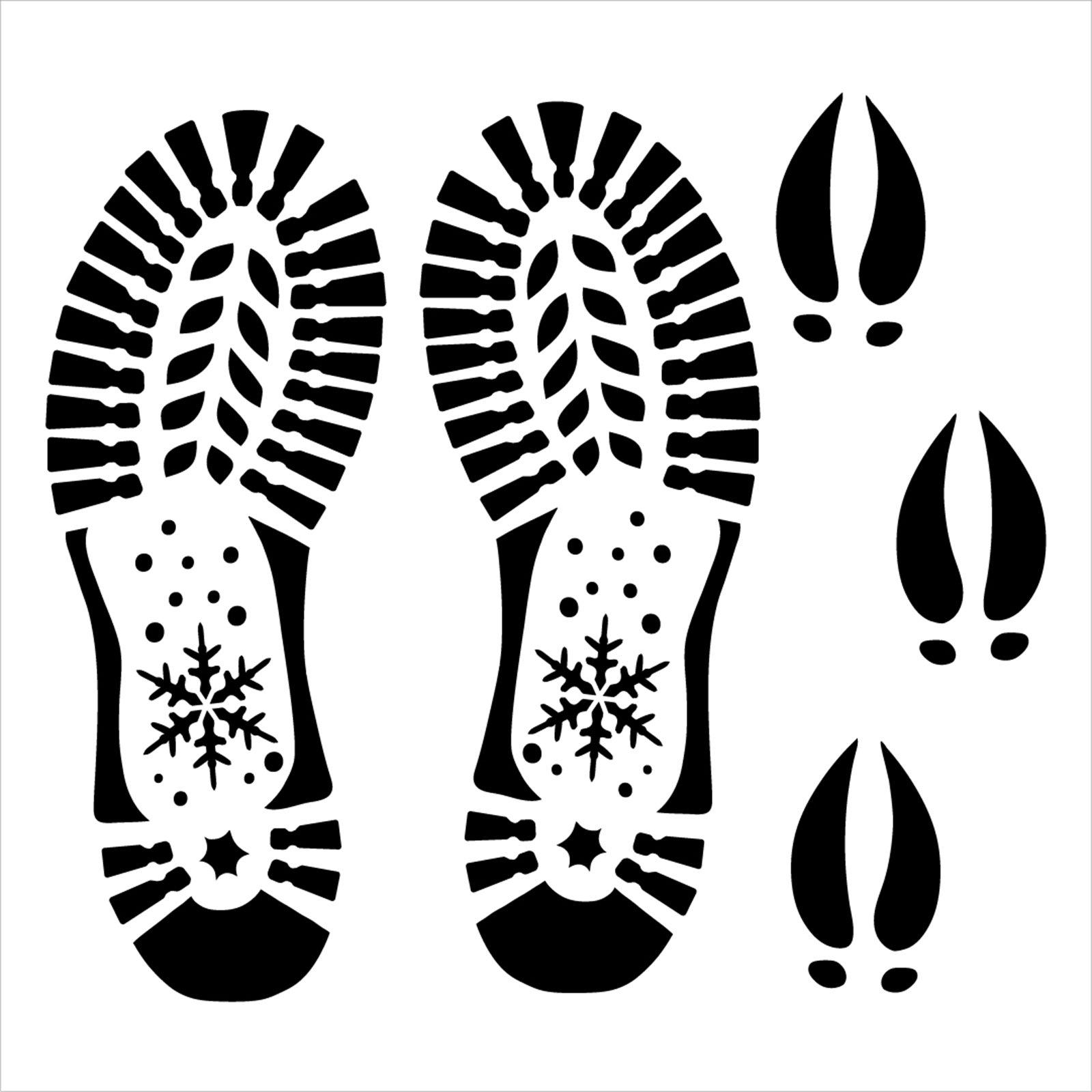 Santa Boot Reindeer Hoof Print Stencil by StudioR12 | Craft DIY Christmas Holiday Home Decor | Paint Wood Sign | Reusable Mylar Template | Select Size