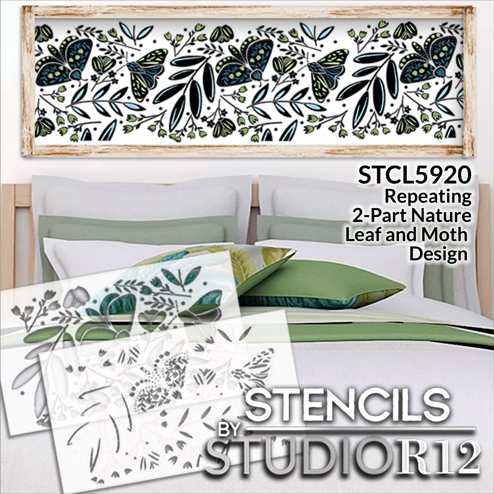 Nature Leaf Moth Flowers 2-Part Stencil by StudioR12 | DIY Floral Home Decor | Craft & Paint Wood Sign | Reusable Mylar Template | Select Size