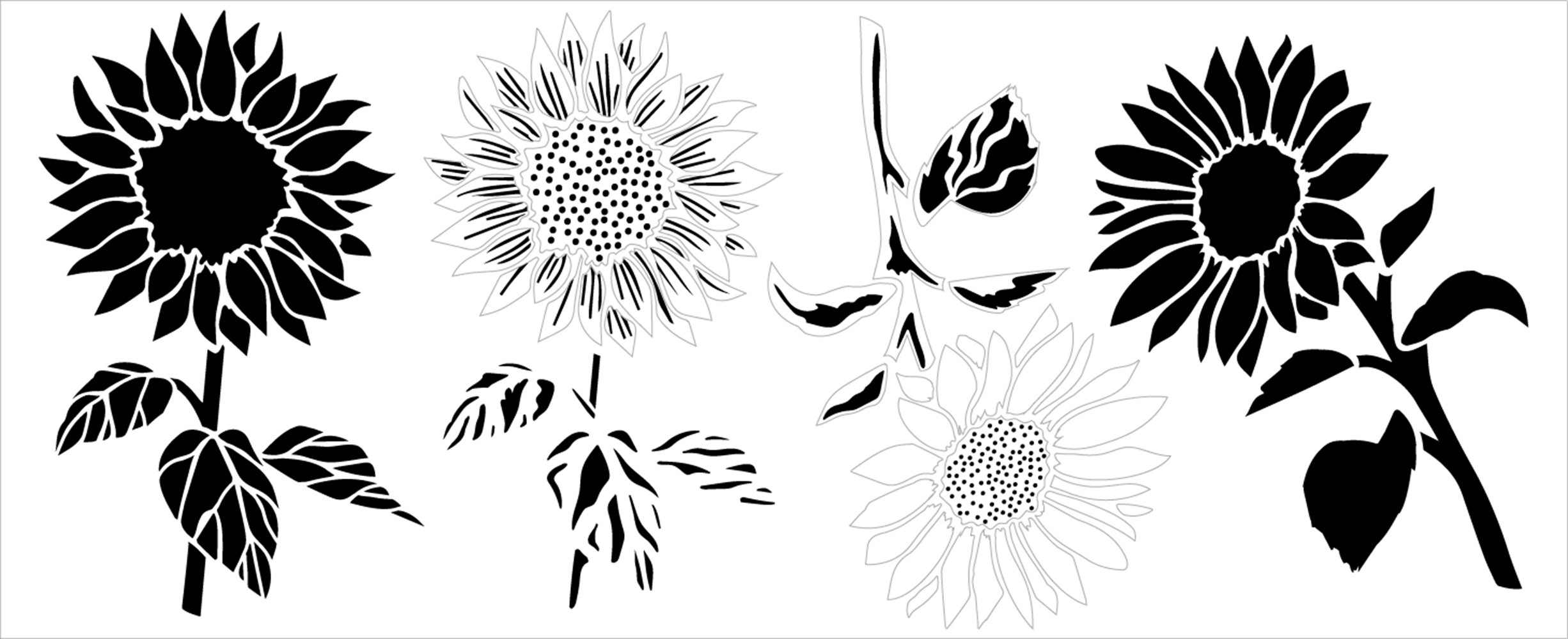 Sunflowers with Stem and Leaves Stencil by StudioR12 | DIY Summer Garden Home Decor | Craft & Paint Wood Sign | Reusable Mylar Template | Select Size