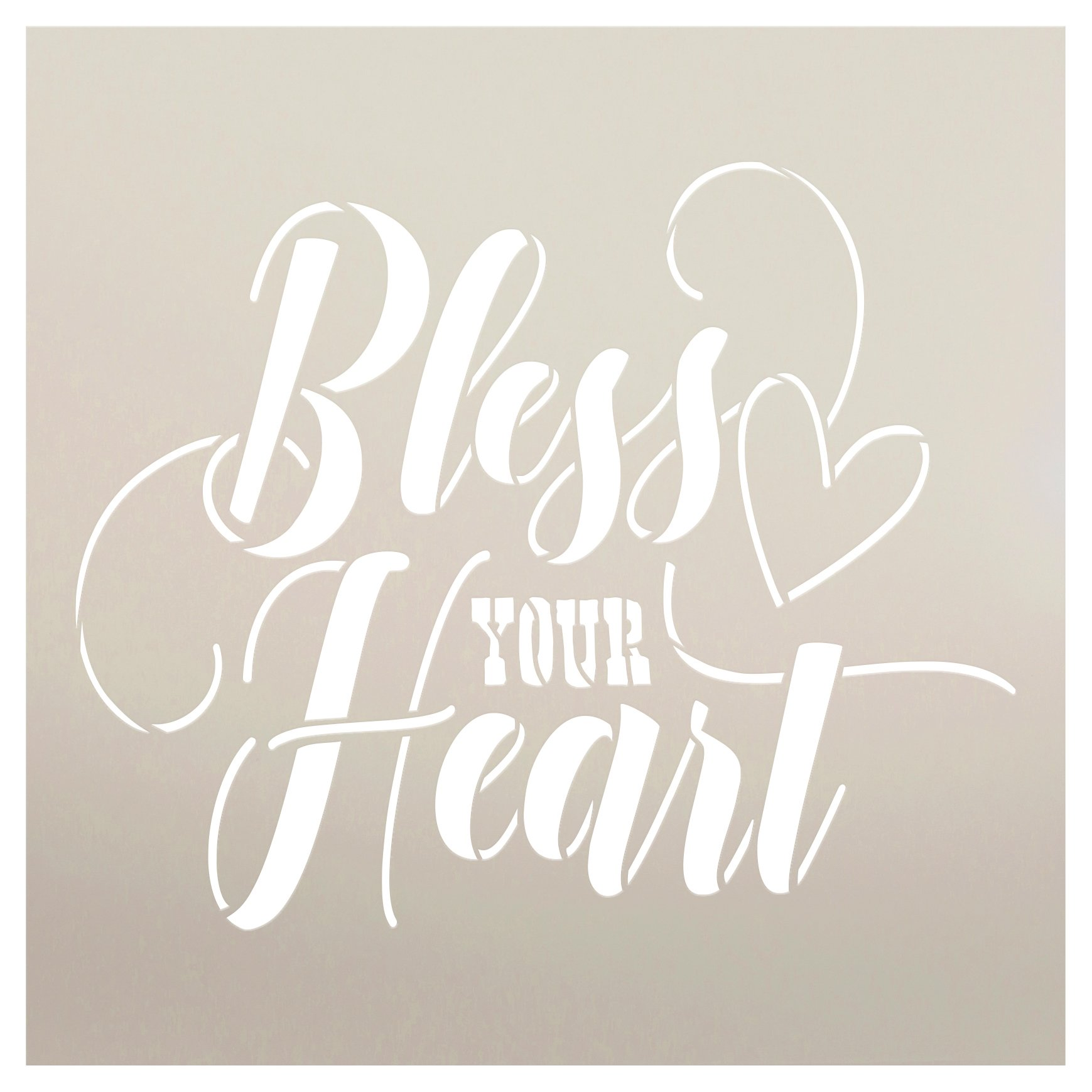 Bless Your Heart Stencil by StudioR12 | DIY Funny Cursive Script Saying Home Decor | Craft & Paint Wood Sign | Reusable Mylar Template | Select Size